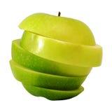 Πράσινο μήλο φωτογραφικών διαφανειών στη φέτα βημάτων Στοκ φωτογραφίες με δικαίωμα ελεύθερης χρήσης
