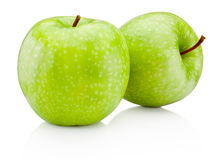 Πράσινο μήλο δύο που απομονώνεται στο άσπρο υπόβαθρο Στοκ φωτογραφία με δικαίωμα ελεύθερης χρήσης