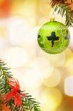 Πράσινο μπιχλιμπίδι συνόρων Χριστουγέννων εορταστικό Στοκ Εικόνες