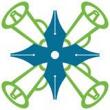 Πράσινο μπλε συμβόλων μεγάφωνων μανδρών Στοκ φωτογραφία με δικαίωμα ελεύθερης χρήσης