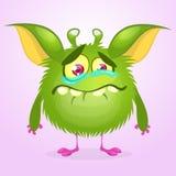 Πράσινο να φωνάξει τεράτων κινούμενων σχεδίων Διανυσματική απεικόνιση του γούνινου στρογγυλού τέρατος Χαρακτήρας Gremlin ή troll Στοκ φωτογραφίες με δικαίωμα ελεύθερης χρήσης
