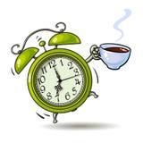 Πράσινο ξυπνητήρι κινούμενων σχεδίων με το χτύπημα φλιτζανιών του καφέ ξυπνήστε χρόνος Συρμένη χέρι διανυσματική απεικόνιση ύφους διανυσματική απεικόνιση