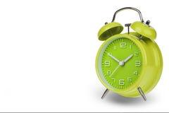 Πράσινο ξυπνητήρι με τα χέρια σε 10 και 2 Στοκ Εικόνες