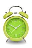 Πράσινο ξυπνητήρι με τα χέρια σε 10 και 2 Στοκ Εικόνα