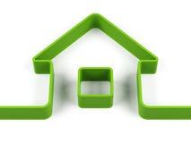 Πράσινο περίγραμμα σπιτιών τρισδιάστατη δίνοντας εικόνα Στοκ εικόνα με δικαίωμα ελεύθερης χρήσης