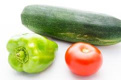 Πράσινο πιπέρι πάπρικας, ντομάτα και φυτικό κολοκύθι Στοκ φωτογραφία με δικαίωμα ελεύθερης χρήσης