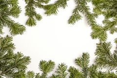 Πράσινο πλαίσιο Χριστουγέννων που απομονώνεται στο άσπρο υπόβαθρο Αντίγραφο SPA Στοκ Εικόνες