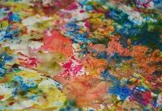 Πράσινο πορτοκαλί μπλε ρόδινο υπόβαθρο χρωμάτων, λαμπιρίζοντας λασπώδες κέρινο χρώμα, υπόβαθρο μορφών αντίθεσης στα χρώματα κρητι Στοκ Εικόνα