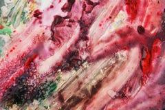 Πράσινο πορφυρό κόκκινο χρώμα watercolor, μαλακά χρώματα μιγμάτων, υπόβαθρο σημείων ζωγραφικής, ζωηρόχρωμο αφηρημένο υπόβαθρο wat Στοκ Φωτογραφία