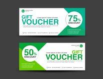 Πράσινο πρότυπο αποδείξεων έκπτωσης, σχέδιο δελτίων, δώρο, εισιτήριο διανυσματική απεικόνιση