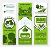 Πράσινο πρότυπο επιχειρησιακών εμβλημάτων Eco με το δέντρο Στοκ Φωτογραφίες