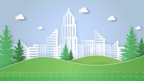 Πράσινο πρότυπο σχεδίου τοπίων πόλεων, ύφος τέχνης εγγράφου Στοκ φωτογραφία με δικαίωμα ελεύθερης χρήσης