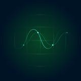 Πράσινο ραντάρ με το κύμα ημιτόνου επίσης corel σύρετε το διάνυσμα απεικόνισης Στοκ Εικόνες