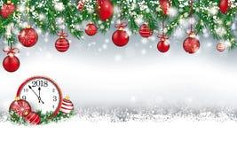 Πράσινο ρολόι 2018 μπιχλιμπιδιών χιονιού κλαδίσκων επιγραφών Χριστουγέννων απεικόνιση αποθεμάτων