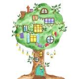 Πράσινο δρύινο δέντρο παραμυθιού Watercolor με τα παράθυρα, γιρλάντες, λαμπτήρας Στοκ φωτογραφίες με δικαίωμα ελεύθερης χρήσης