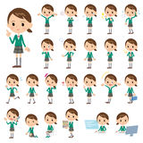 Πράσινο σακάκι σχολικών κοριτσιών Στοκ φωτογραφία με δικαίωμα ελεύθερης χρήσης