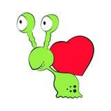 Πράσινο σαλιγκάρι τεράτων αγάπης βαλεντίνων με την κόκκινη καρδιά Απομονωμένη απεικόνιση κινούμενων σχεδίων Στοκ Εικόνες