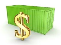 Πράσινο σημάδι εμπορευματοκιβωτίων και δολαρίων. Στοκ Εικόνα