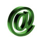 Πράσινο σημάδι ηλεκτρονικού ταχυδρομείου που απομονώνεται στο άσπρο υπόβαθρο Στοκ Εικόνα
