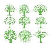 πράσινο σκιαγραφιών σύνολο σχεδίου λογότυπων δέντρων διανυσματικό στοκ εικόνες