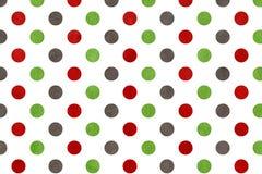 Πράσινο, σκούρο κόκκινο και γκρίζο υπόβαθρο σημείων Πόλκα Watercolor Στοκ εικόνα με δικαίωμα ελεύθερης χρήσης