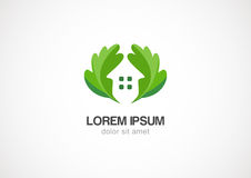 Πράσινο σπίτι eco φύλλων, διανυσματικό πρότυπο σχεδίου λογότυπων Στοκ Φωτογραφία