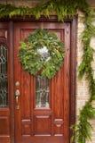 Πράσινο στεφάνι Χριστουγέννων διακοπών Στοκ Εικόνες