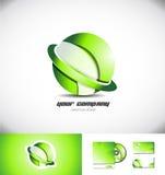 Πράσινο σφαιρών σχέδιο εικονιδίων λογότυπων δαχτυλιδιών τρισδιάστατο Στοκ Εικόνες
