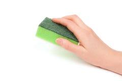 πράσινο σφουγγάρι χεριών Στοκ εικόνα με δικαίωμα ελεύθερης χρήσης