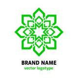 Πράσινο σχέδιο λογότυπων λουλουδιών Γεωμετρικό logotype στο ανατολικό ύφος Floral εικονίδιο eco Mandala Φρέσκια ιδέα για τη λέσχη διανυσματική απεικόνιση