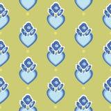 Πράσινο σχέδιο με την μπλε καρδιά και τα λουλούδια ελεύθερη απεικόνιση δικαιώματος