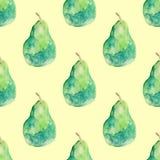 Πράσινο σχέδιο αχλαδιών Watercolour σε κίτρινο ελεύθερη απεικόνιση δικαιώματος