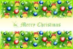 Πράσινο σχέδιο καρτών Χριστουγέννων με το μπιχλιμπίδι στα ελατήρια ελαιόπρινου - διανυσματικό eps10 διανυσματική απεικόνιση