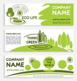 Πράσινο σχέδιο προτύπων επιχειρησιακών εμβλημάτων Eco Στοκ φωτογραφία με δικαίωμα ελεύθερης χρήσης
