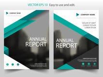 Πράσινο σχέδιο προτύπων ιπτάμενων φυλλάδιων ετήσια εκθέσεων φυλλάδιων τριγώνων, σχέδιο σχεδιαγράμματος κάλυψης βιβλίων, αφηρημένη ελεύθερη απεικόνιση δικαιώματος