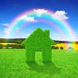 Πράσινο σύμβολο σπιτιών Στοκ εικόνες με δικαίωμα ελεύθερης χρήσης