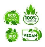 Πράσινο σύνολο αυτοκόλλητων ετικεττών οργανικής τροφής Eco χορτοφάγο Βιο συλλογή διακριτικών καταστημάτων Vegan για το φυσικό τρό διανυσματική απεικόνιση