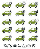 Πράσινο σύνολο εικονιδίων υπηρεσιών αυτοκινήτων απεικόνιση αποθεμάτων