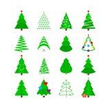 Πράσινο σύνολο εικονιδίων χριστουγεννιάτικων δέντρων Τυποποιημένα διανυσματικά Fir-trees Στοκ φωτογραφίες με δικαίωμα ελεύθερης χρήσης