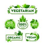 Πράσινο σύνολο εμβλημάτων εικονιδίων οργανικής τροφής Eco χορτοφάγο Βιο συλλογή διακριτικών καταστημάτων φύσης Vegan για την υγει ελεύθερη απεικόνιση δικαιώματος