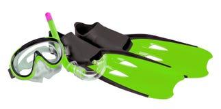 Πράσινο σύνολο κολύμβησης με αναπνευστήρα Στοκ Φωτογραφίες