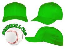 Πράσινο σύνολο καπέλων του μπέιζμπολ Στοκ Εικόνα