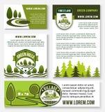 Πράσινο σύνολο προτύπων επιχειρησιακών εμβλημάτων επιχείρησης και eco Στοκ εικόνες με δικαίωμα ελεύθερης χρήσης