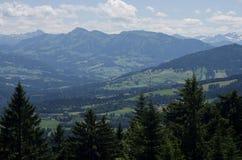 Πράσινο ταξίδι αναπηρικών καρεκλών υψηλών βουνών στοκ εικόνα