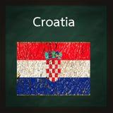 πράσινο τετράγωνο σημαιών της Κροατίας πινάκων κιμωλίας Στοκ εικόνα με δικαίωμα ελεύθερης χρήσης
