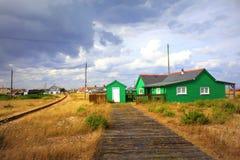 Πράσινο τοπίο Κεντ Αγγλία καλυβών Dungeness Στοκ φωτογραφία με δικαίωμα ελεύθερης χρήσης