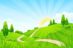 Πράσινο τοπίο με τα δέντρα και το δρόμο Στοκ Εικόνες