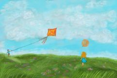 Πράσινο τοπίο φύσης απεικόνισης με το ενεργά αγόρι και τα κορίτσια που παίζουν την άνοιξη στοκ εικόνα