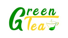 Πράσινο τσάι - κείμενο με ένα φλυτζάνι του πράσινου τσαγιού διανυσματική απεικόνιση