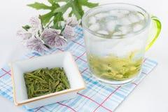 Πράσινο τσάι με τον πάγο και το χαλαρό πράσινο τσάι Στοκ φωτογραφία με δικαίωμα ελεύθερης χρήσης